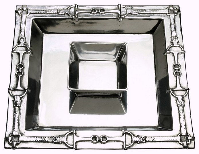 Polished Aluminum Square Chip & Dip Set