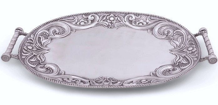 Tooled Leather Trim Aluminum Serving Tray