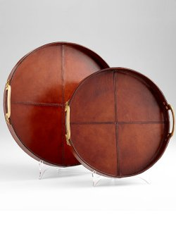Stitched Leather Serving Tray Set