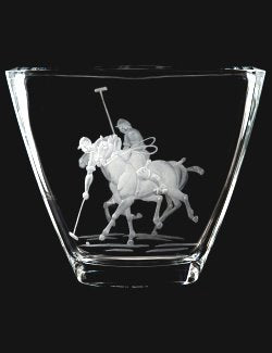 Engraved Glass Polo Match Vase
