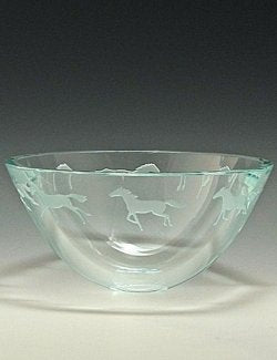 Equine Sandblast-Etched Display Bowl