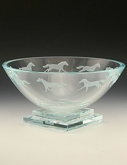Platform Base Engraved Equine Centerpiece Bowl