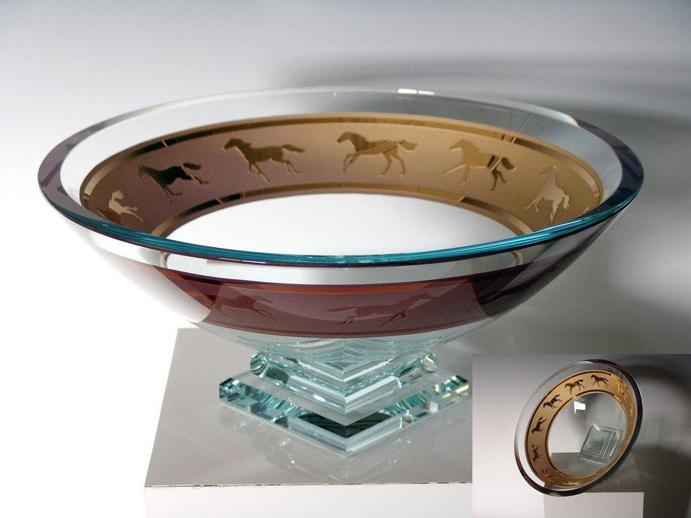 Golden Platform Base Engraved Equine Centerpiece Bowl
