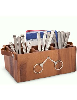 Acacia Wood Snaffle Bit Flatware Caddy