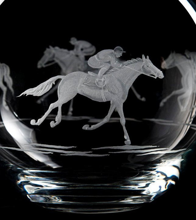 Engraved Glass At The Races Moon Vase