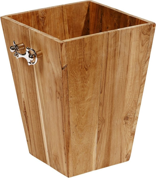 Mango Wood Horse Bit Wastebasket/Planter