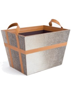 Leather & Hide Metro Magazine Basket