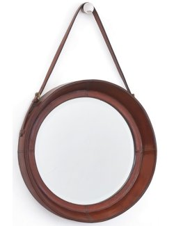 Upholstered Saddle Leather Mirror