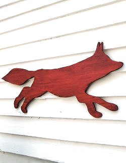 Distressed Wood Fox Silhouette