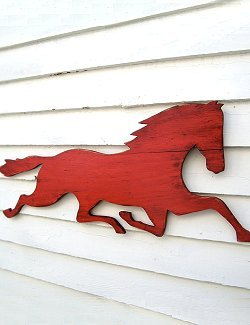 Distressed Wood Horse Silhouette
