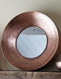 Rustic Hammered Iron Wall Mirror