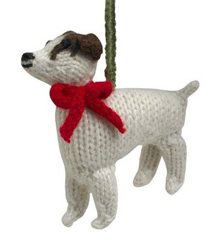 Hand-Knit Jack Russell Ornament Sets