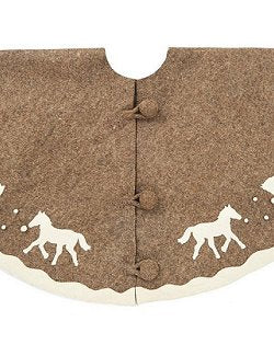 Winter Romp Equestrian Wool Tree Skirt