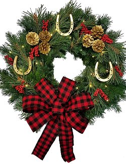 Golden Horseshoes Fresh Equine Wreath/Buffalo Check Bow