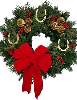 Golden Horseshoes Fresh Equine Wreath/Red Bow