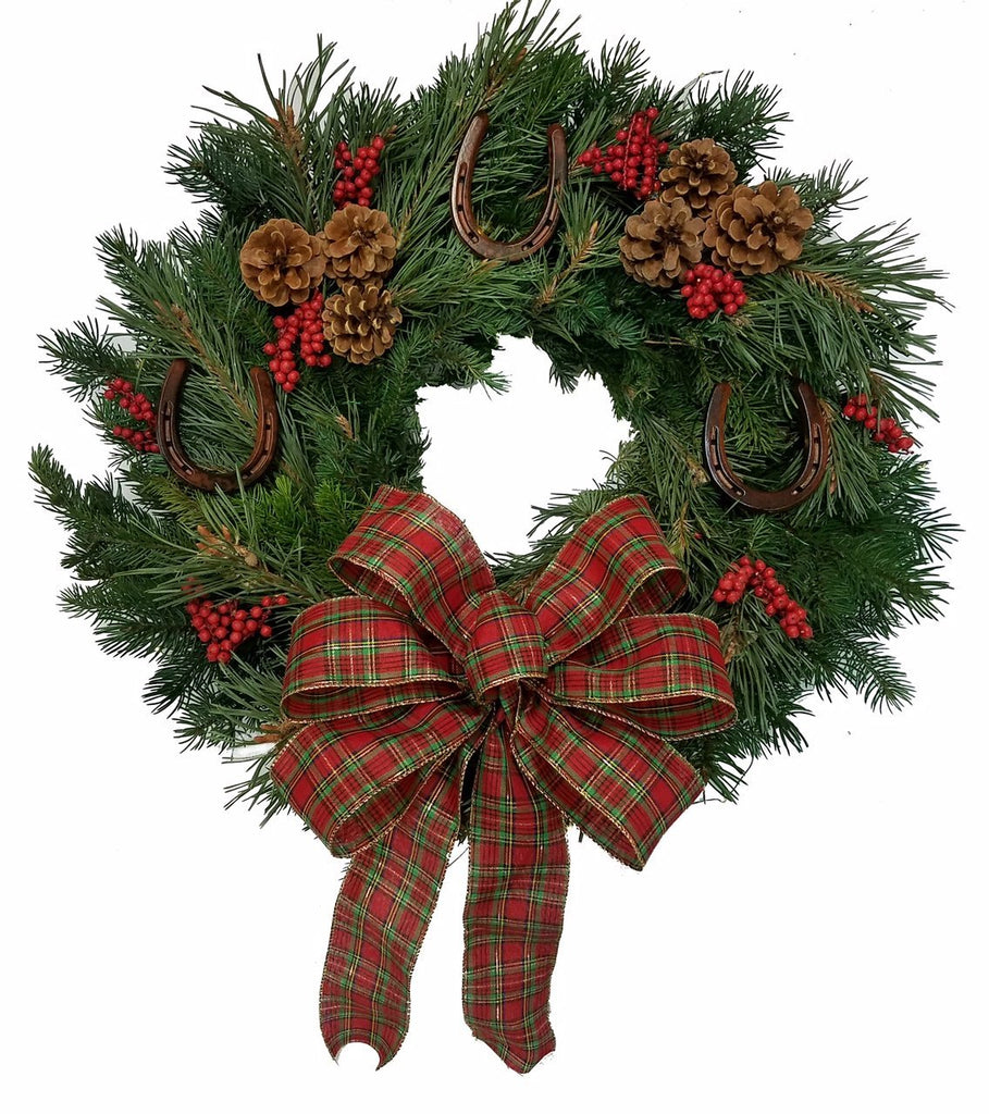 Iron Horseshoes Fresh Equine Wreath/Plaid Bow