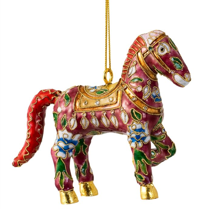 Cloisonné Fanciful Horses Ornament Set