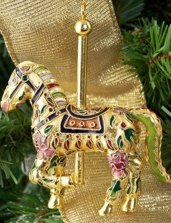 Cloisonné Gilded Gold Carousel Horses Ornament Set