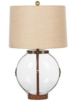 Bridle Leather Strapped Globe Glass Table Lamp