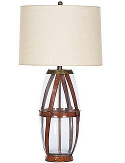 Bridle Leather Strapped Tall Glass Table Lamp