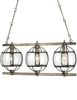 Rustic Pyrite Ranch House Chandelier