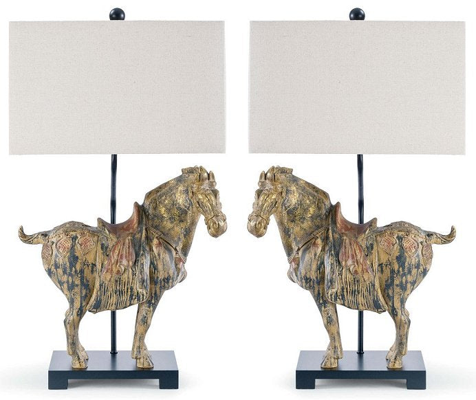 Dynasty style horse lamp