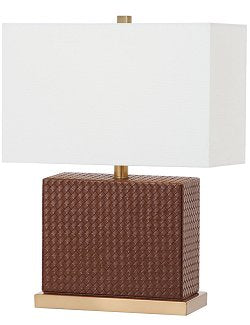 Saddle Brown Basketweave Table Lamp