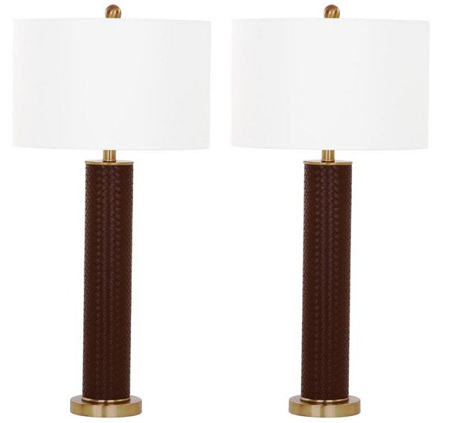 Basketweave Leather Cylinder Lamp Set