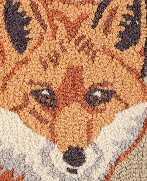Handsome Red Fox Hooked Wool Pillow Equine Luxuries