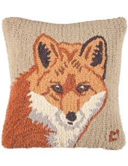 Handsome Red Fox Hooked Wool Pillow