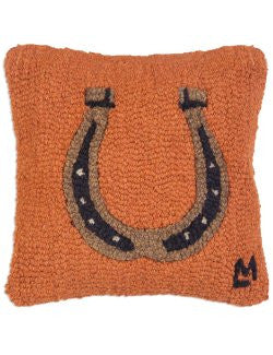 Hand-Forged Horseshoe Hooked Wool Pillow