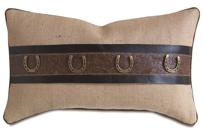 Rustic Burlap Horseshoe Lumbar Pillow