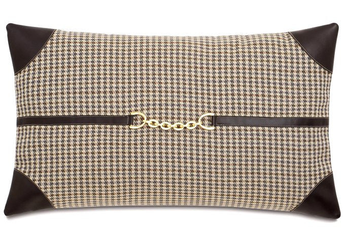 Equine Elements: Houndstooth Chain Trim Lumbar Pillow