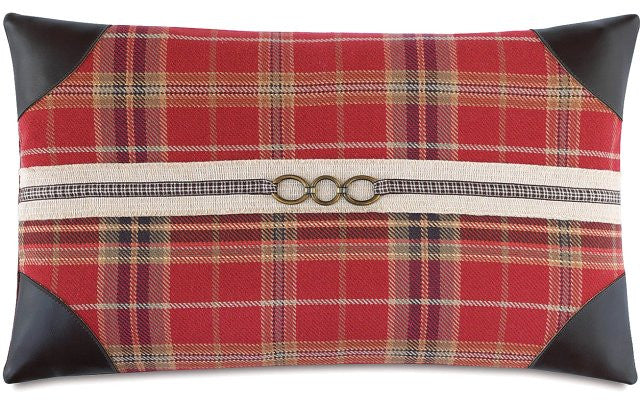 Fox Hunt Plaid Leather Tipped Lumbar Pillow