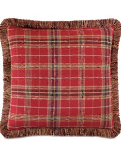 Fox Hunt Plaid Brush Fringe Pillow