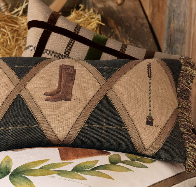 Fox Hunt Plaid Tack Vignettes Pillow