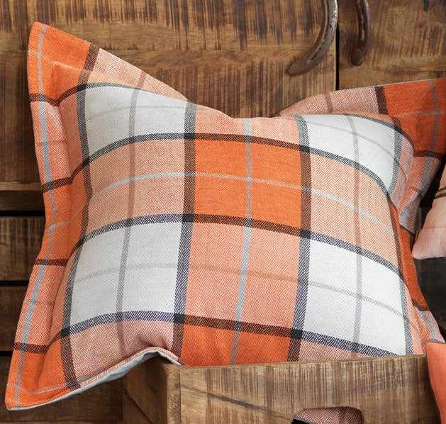 Rustic Plaid Flanged Pillow
