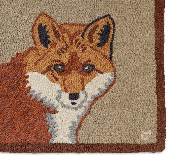 Handsome Red Fox Hooked Wool Rug