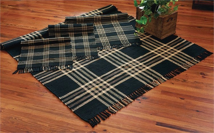Weathered Tartan Washable Rag Large Mat