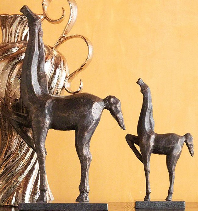 Cubist Style Iron Finish Horse Duo