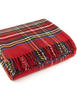 Stewart Plaid X-Long Wool Throw
