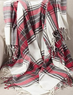 Washables Winter White Plaid Throw