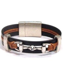 Leather Band Horse Bit Bracelet