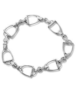 Sterling Silver Casual-Fit Stirrup Links Bracelet
