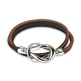 Steel Knot Leather Loop Bracelet