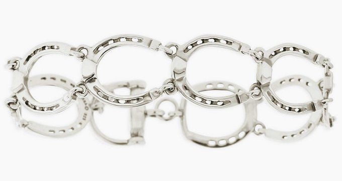 Sterling Silver Linked Horseshoes Bracelet