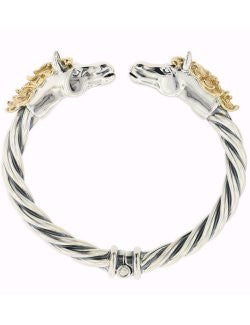 Horse Heads Rope Twist Hinged Bangle