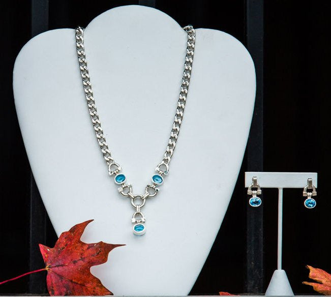 Blue Topaz Chained Stirrups Necklace And Earrings Set