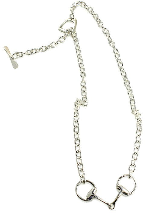 Sterling Silver Snaffle Bit Necklace And Earrings Set