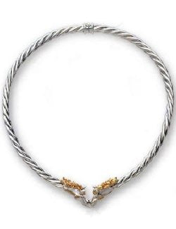 Sterling Silver & 14K Gold Rope Collar Necklace